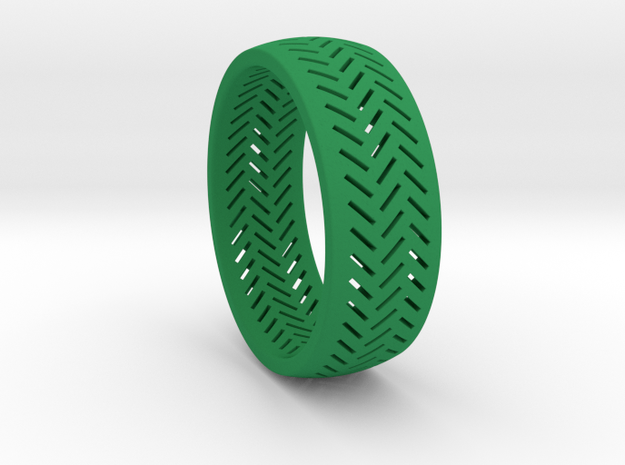 Herringbone Ring Size 12 in Green Processed Versatile Plastic