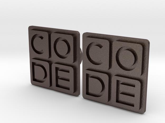 Code.org Cufflinks in Polished Bronzed Silver Steel
