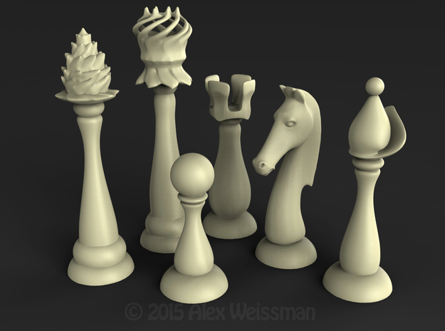 Slender Chess Pieces, 1/2 set in White Strong & Flexible Polished