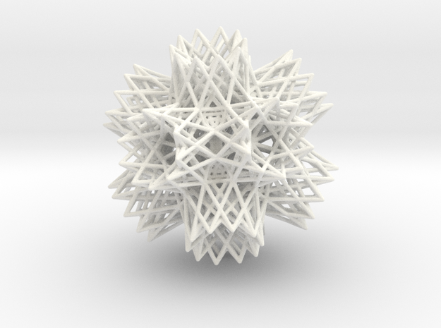 2-Compound of a great retrosnub icosidodecahedron  in White Processed Versatile Plastic