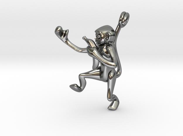 3D-Monkeys 012 in Fine Detail Polished Silver