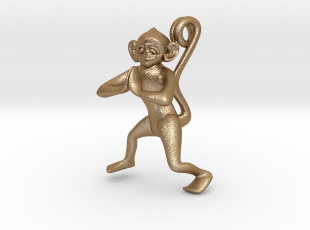 3D-Monkeys 024 in Matte Gold Steel