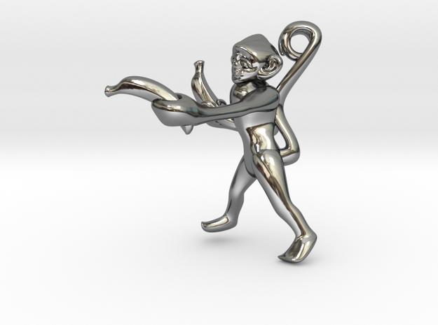 3D-Monkeys 041 in Fine Detail Polished Silver