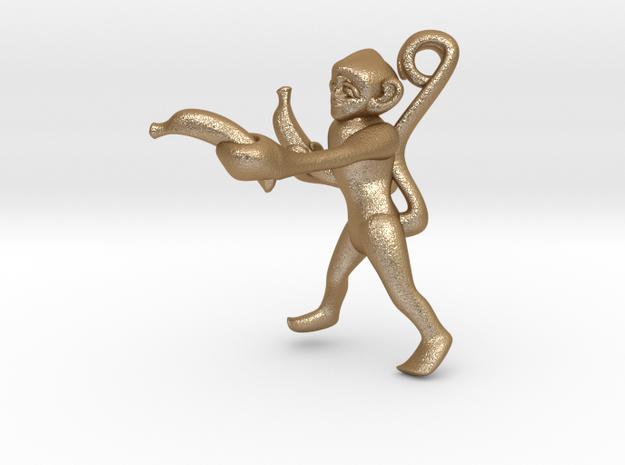 3D-Monkeys 041 in Matte Gold Steel