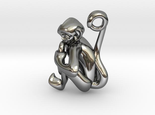 3D-Monkeys 050 in Fine Detail Polished Silver