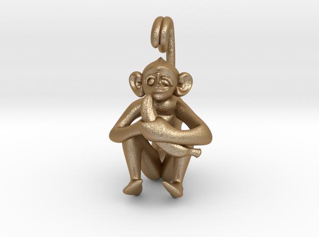 3D-Monkeys 053 in Matte Gold Steel