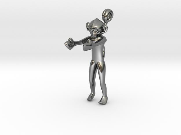 3D-Monkeys 056 in Fine Detail Polished Silver