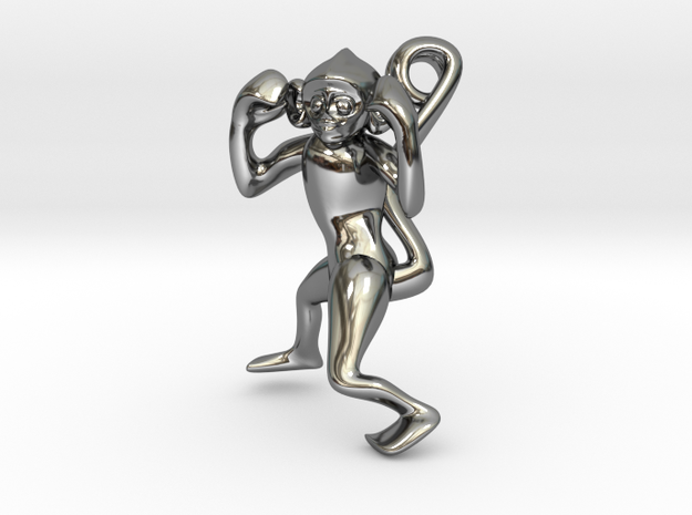 3D-Monkeys 070 in Fine Detail Polished Silver