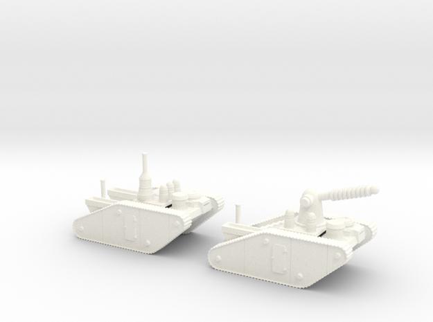 15mm AQMF EDISON / TESLA LIGHTNING TANK MK II in White Processed Versatile Plastic
