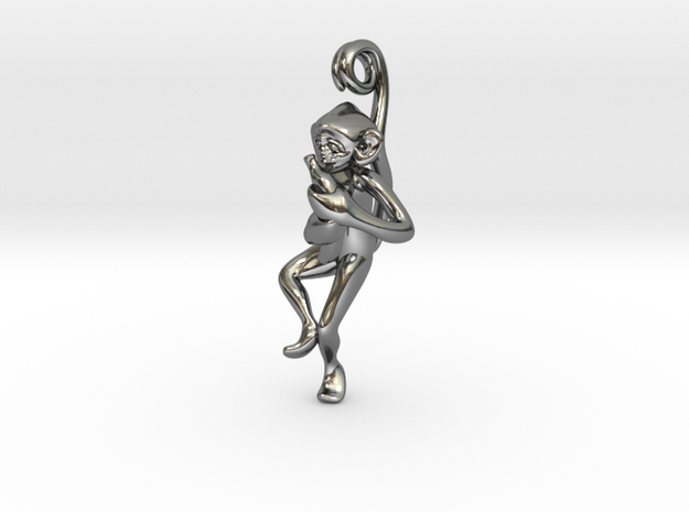 3D-Monkeys 123 in Fine Detail Polished Silver