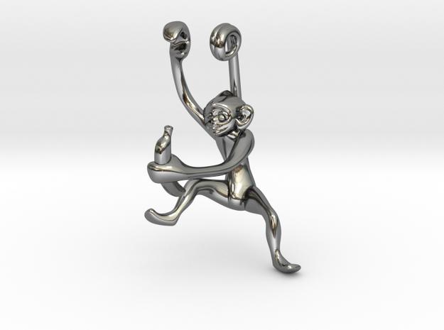 3D-Monkeys 140 in Fine Detail Polished Silver