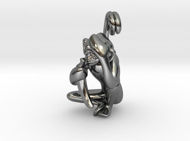 3D-Monkeys 165 in Fine Detail Polished Silver