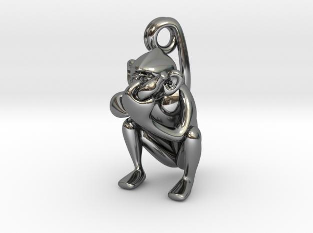 3D-Monkeys 170 in Fine Detail Polished Silver