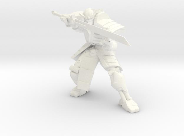 Robot Skeleton Samurai 02 in White Strong & Flexible Polished