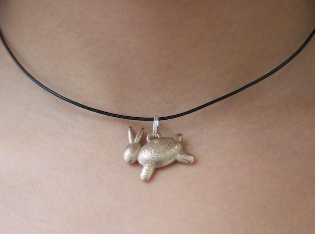 Bunny Pendant in Polished Bronzed Silver Steel