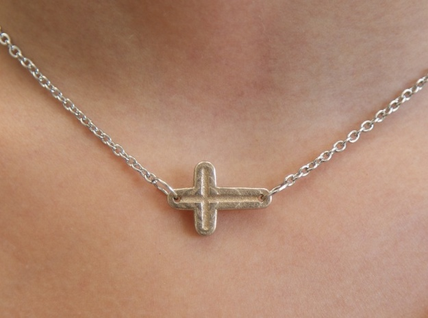 Side Cross Pendant 3d printed (shown in stainless steel)