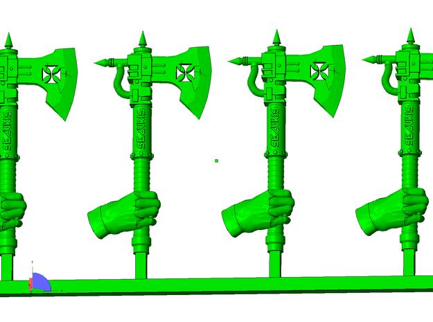 x10 Small Steampunk Axes 3d printed
