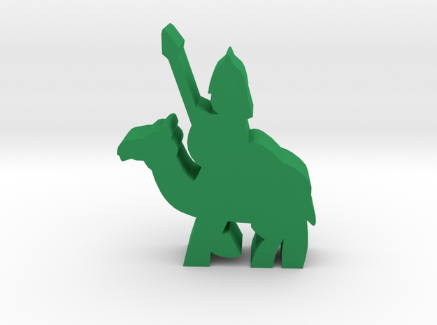 Game Piece, Saracen Spearman On Camel in Green Processed Versatile Plastic