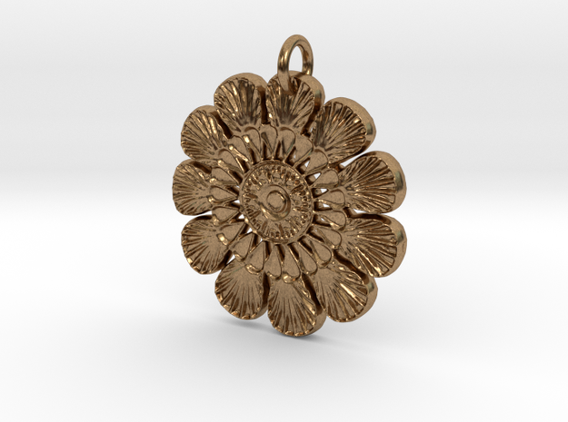 Shells Mandala Pendant in Natural Brass