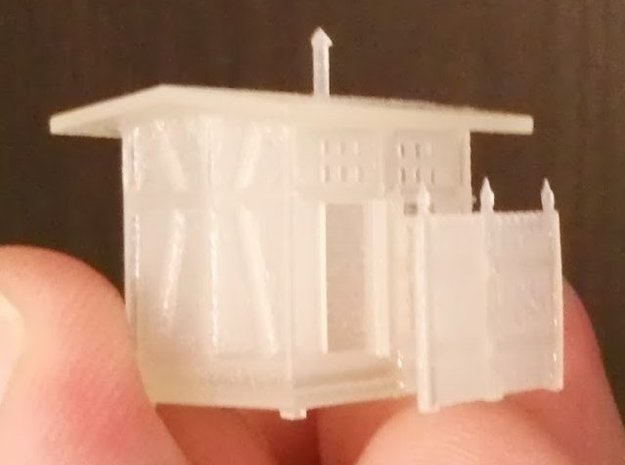 Z Scale European Style Railroad Outhouse in Frosted Ultra Detail
