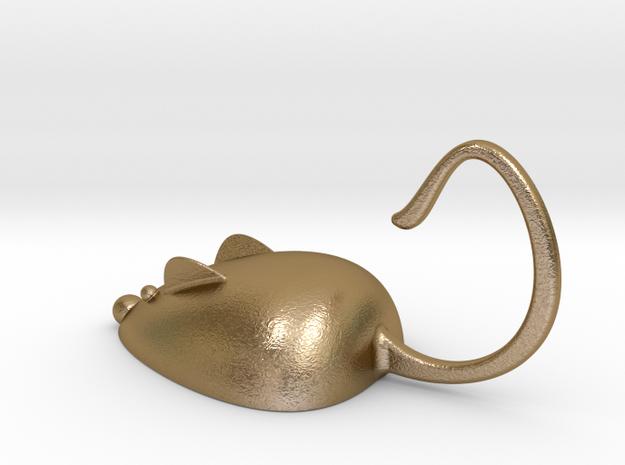 老鼠掛勾.stl in Polished Gold Steel