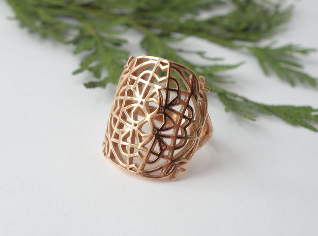Medieval Lace Ring - Size 8.5 in 14k Rose Gold Plated Brass