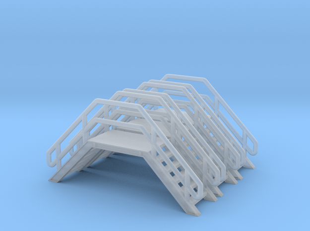 N Scale 3x Crossover Stairs #2 in Smooth Fine Detail Plastic