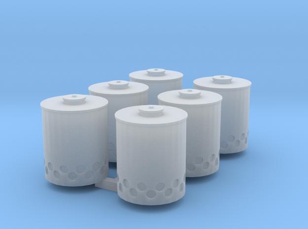 Smoke Potsx6 in Smooth Fine Detail Plastic
