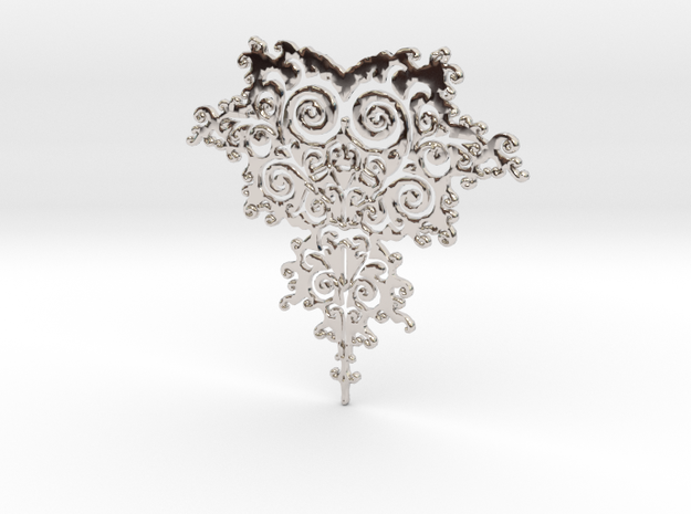 Mandelbrot Fractal Design in Rhodium Plated Brass