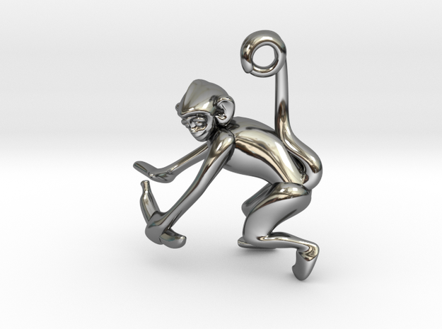 3D-Monkeys 248 in Fine Detail Polished Silver