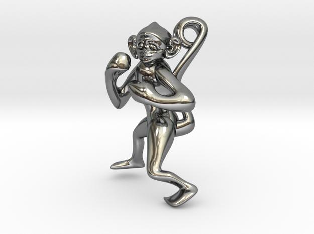 3D-Monkeys 257 in Fine Detail Polished Silver