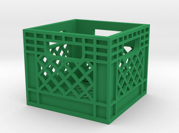 1/10 Milk Crate in Green Processed Versatile Plastic