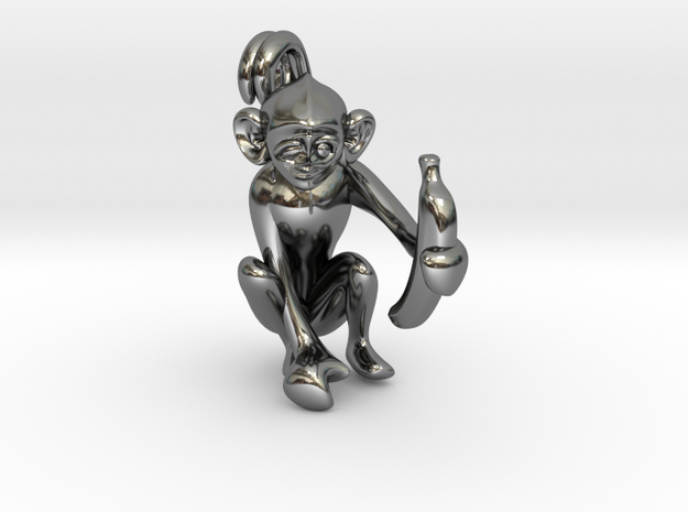 3D-Monkeys 334 in Fine Detail Polished Silver