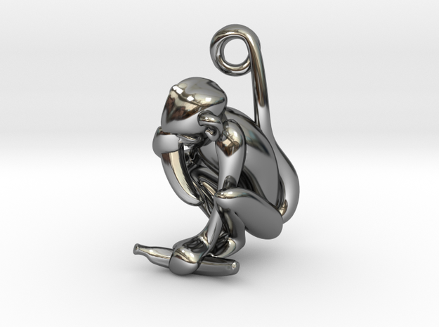 3D-Monkeys 337 in Fine Detail Polished Silver