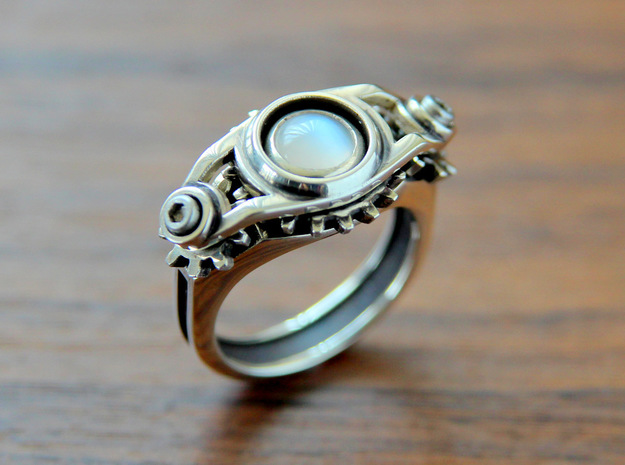 """""""Gear of Moon Stone"""" Silver Ring -Not for sale- 3d printed"""