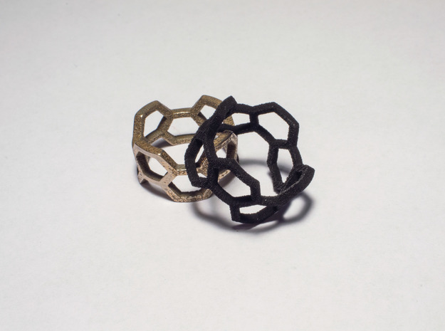 Honey Ring 3d printed Stainless Steel & Black