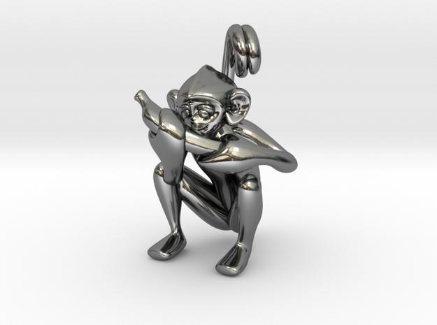 3D-Monkeys 344 in Fine Detail Polished Silver