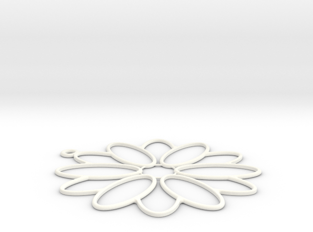 Flower Shape Charm in White Processed Versatile Plastic