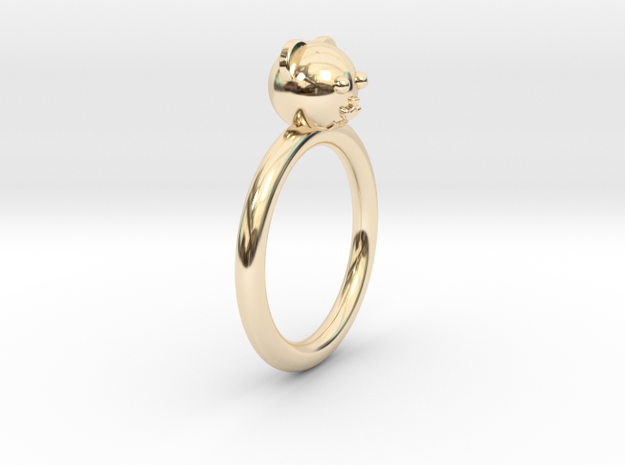 Bear Head Ring in 14k Gold Plated Brass
