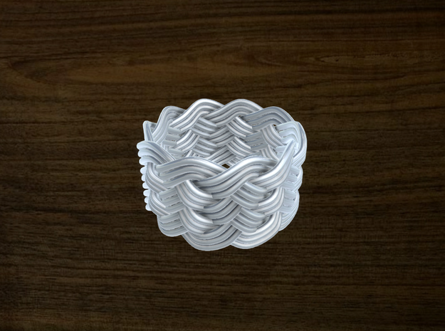 Turk's Head Knot Ring 6 Part X 10 Bight - Size 9.2 in White Natural Versatile Plastic