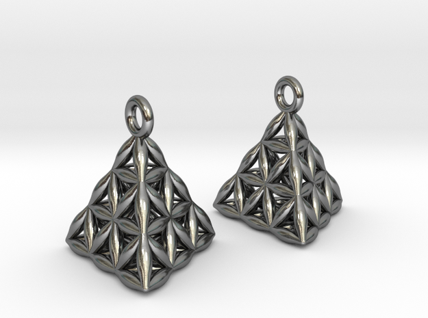 Flower Of Life Tetrahedron Earrings in Polished Silver