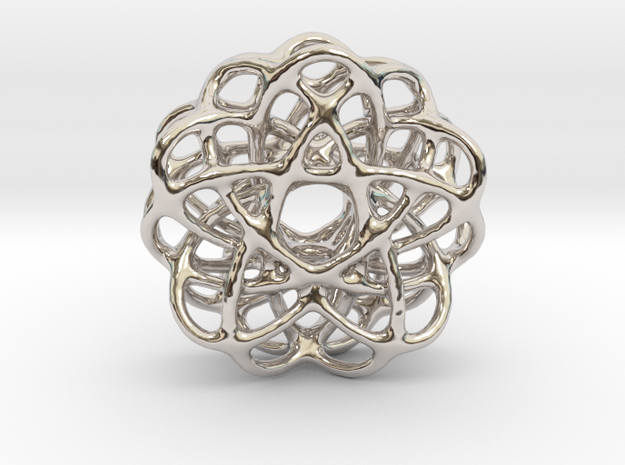 Spiro Pendant No.2 in Rhodium Plated Brass