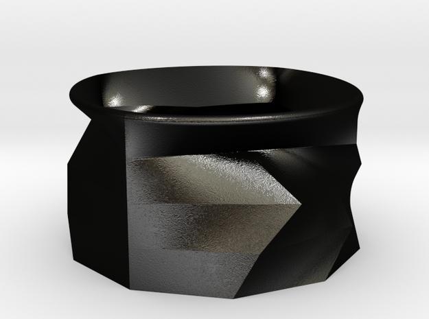 Geometric  trash in Matte Black Steel