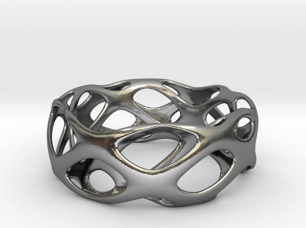 Bracelet Wave Cell Cycle in Polished Silver