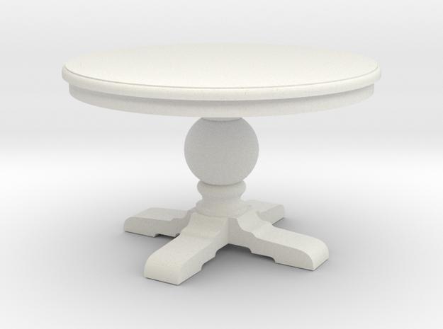 1:48 Round Trestle Table in White Natural Versatile Plastic