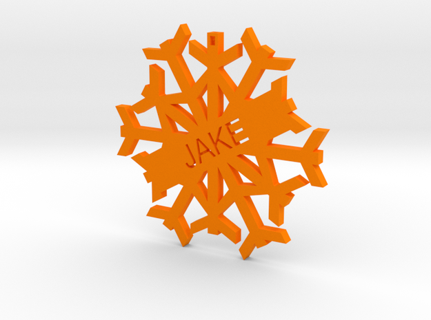 JAKE Snowflake Christmas Tree Decoration in Orange Strong & Flexible Polished