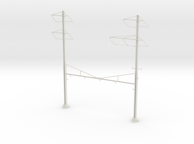 PRR CATENARY HO SCALE 4TRK CURVED STEADY 2-3 PH in White Natural Versatile Plastic