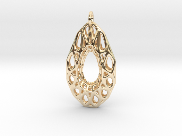 Wire Gem Pendant in 14k Gold Plated Brass