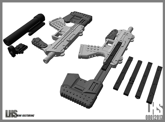 1/6 scale caseless smg Akimbo Package revised spru in White Natural Versatile Plastic