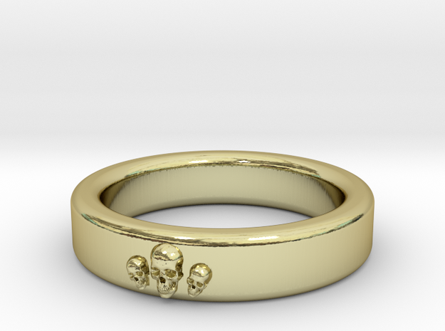 Smooth Anatomical Skull Ring in 18k Gold Plated Brass